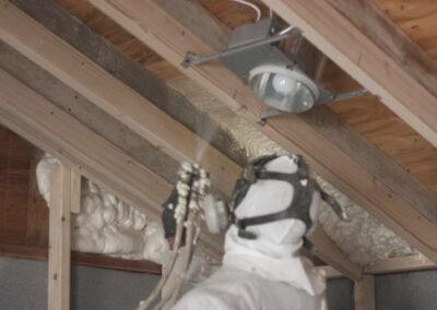 this image shows attic spray foam insulation