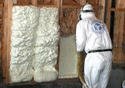 this image shows exterior wall spray foam insulation in vancouver bc